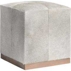 Felix Small Leather Ottoman, Frosted Hide - High Fashion Home