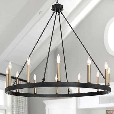 Jadyn 12 - Light Candle Style Wagon Wheel Chandelier - Wayfair