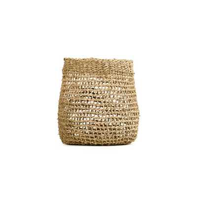 Zentique Concave Cylindrical Sparsely Hand Woven Seagrass Small Basket without Handles, Beige - Home Depot