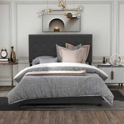 Upholstered Linen Stitch Tufted Platform Bed With Slat Support, Queen (Gray) - Wayfair