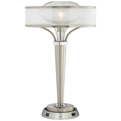 Layne Brushed Nickel Table Lamp w/ Dimmable Workstation Base - Style # 83F13 - Lamps Plus