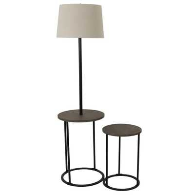 Decor Therapy Ricard 58 in. Black Floor Lamp with Nesting Table Set - Home Depot