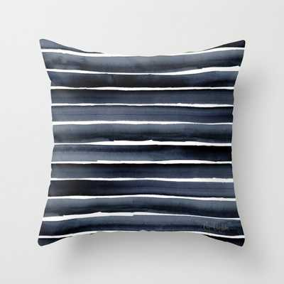 """Navy Indigo Watercolor Stripe Couch Throw Pillow by Crystal W Design - Cover (20"""" x 20"""") with pillow insert - Indoor Pillow - Society6"""