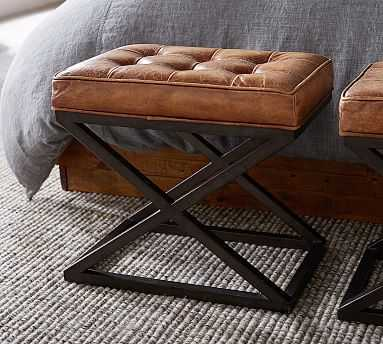 Kirkham Tufted Leather Stool, Nubuck Matte Black - Pottery Barn