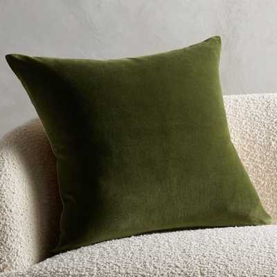 "23"" Leisure Olive Green Pillow with Feather-Down Insert - CB2"