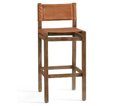 Segura Leather Bar Height Bar Stool, Camden Brown Leg, Statesville Molasses - Pottery Barn