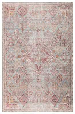 Kendrick Indoor/ Outdoor Medallion Sky Blue/ Pink Area Rug (8'X10') - Collective Weavers