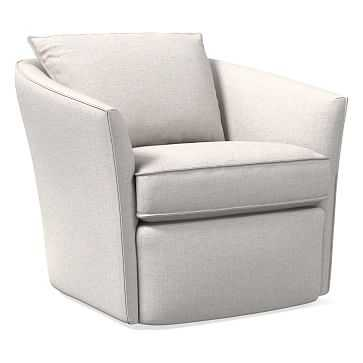 Duffield Swivel Chair, Performance Coastal Linen, Stone White - West Elm