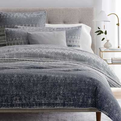 Organic Sateen Echo Duvet & King Sham, Midnight, King - West Elm