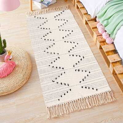 Chevron Hand Knotted Cotton Cream/Black Area Rug - Wayfair