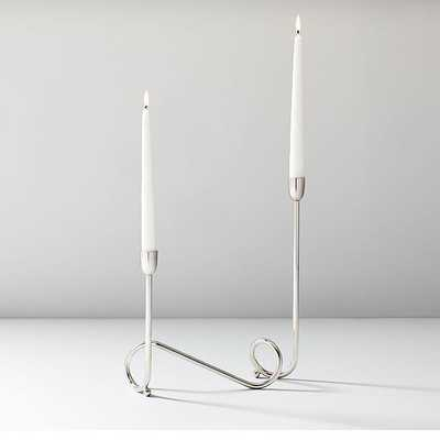 Metal Loop Candelabra, Polished Nickel, Set of 2 - West Elm