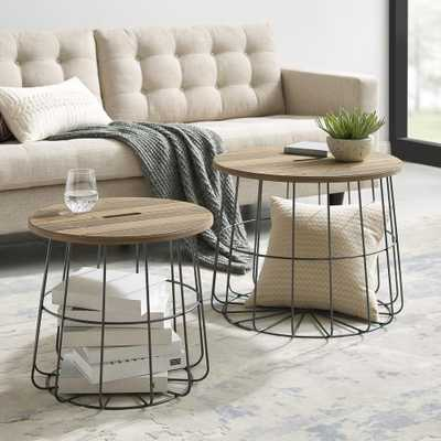 Linon Home Decor Renville Metal and Wood Nesting Basket Tables, Rustic wood and Wire - Home Depot