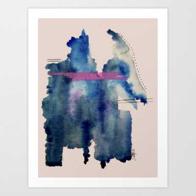 Pour: A Blue And Purple Abstract Watercolor Art Print by Alyssa Hamilton Art - X-LARGE - Society6