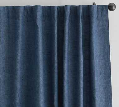 "Emery Linen Poletop Curtain, 50 x 96"", Midnight Denim - Pottery Barn"