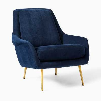 Lottie Chair Poly Ink Blue Distressed Velvet Brass - West Elm