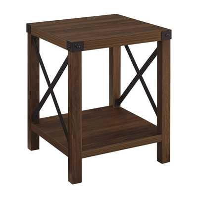 Rustic Wood Side Table Dark Walnut - Saracina Home, Dark Brown - Target