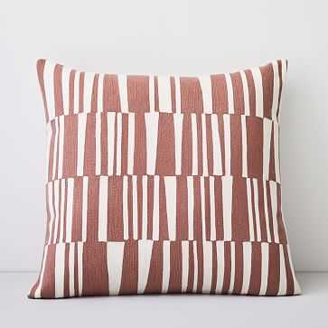"""Crewel Linear Pillow Cover, Pink Stone, 24""""x24"""" - West Elm"""
