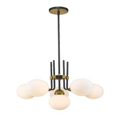 Filament Design 6-Light Matte Black and Olde Brass Chandelier with Opal Glass Shade - Home Depot