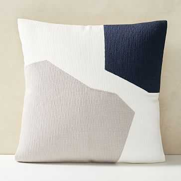 "Corded Minimalist Geo Pillow Cover, 20""x20"", Midnight - West Elm"