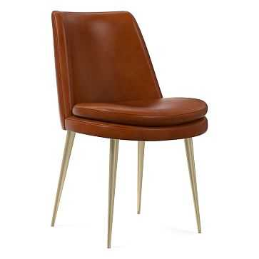 Finley Low Back Dining Chair Leather Saddle, Light Bronze - West Elm