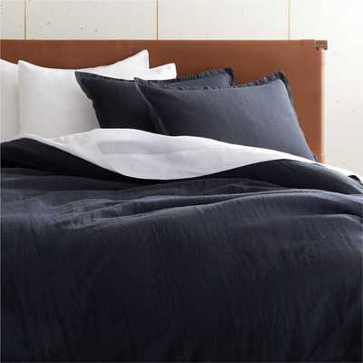 Linen Black King Duvet Cover - CB2