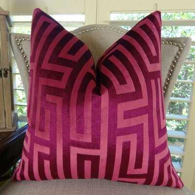 Stewart Greek Trellis Luxury Larry Laslo Velvet Single Sided Pillow - Wayfair