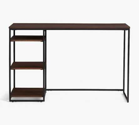 """Bradley 47"""" Wood Desk with Shelves, Dark Umber - Pottery Barn"""