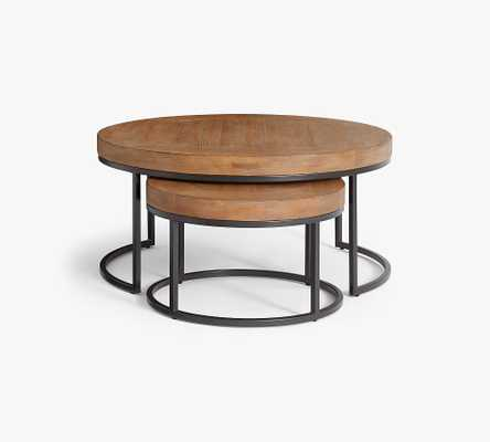 Malcolm Round Nesting Coffee Tables, Glazed Pine - Set of 2 - Pottery Barn