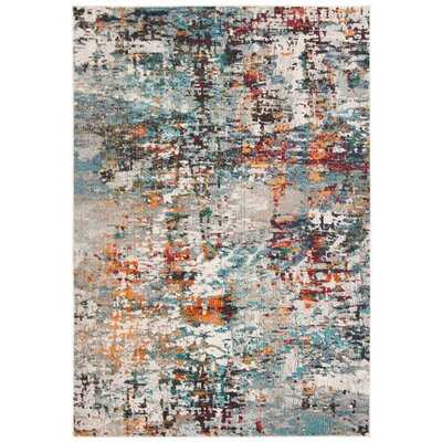 Gutierez Abstract Gray/Blue/Orange Area Rug - Wayfair