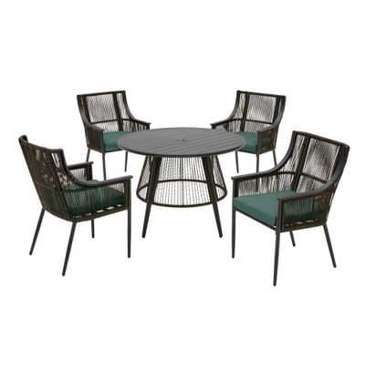 Hampton Bay Bayhurst 5-Piece Black Wicker Outdoor Patio Dining Set with CushionGuard Charleston Blue-Green Cushions - Home Depot