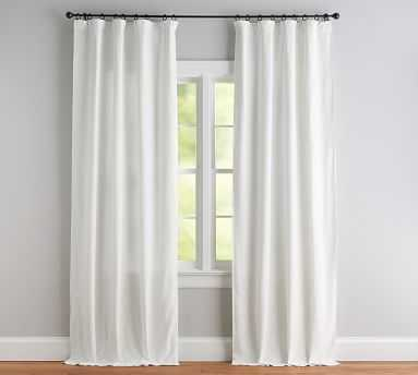 "Seaton Textured Cotton Rod Pocket Curtain, 50 x 96"", White - Pottery Barn"