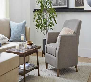 SoMa Newton Upholstered Armchair, Polyester Wrapped Cushions, Brushed Crossweave Charcoal - Pottery Barn