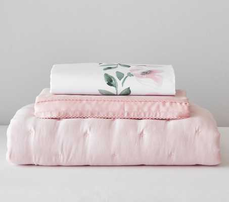 Meredith Quilt Set, PP Meredith Crib Fitted Sheet, Blush Amelia Quilt, Blush Amelia Cribskirt - Pottery Barn Kids
