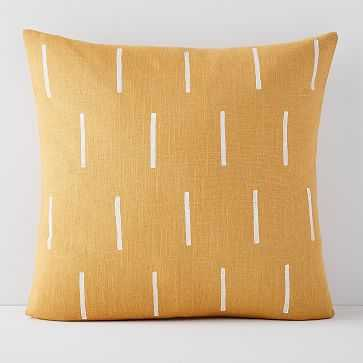 Flax + Symbol Pillow Cover, Mustard Lines - West Elm