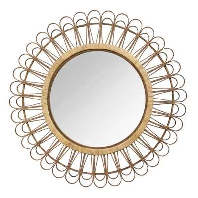 "Stratton Home Decor 33.86"" Tulum Rattan Mirror - Home Depot"