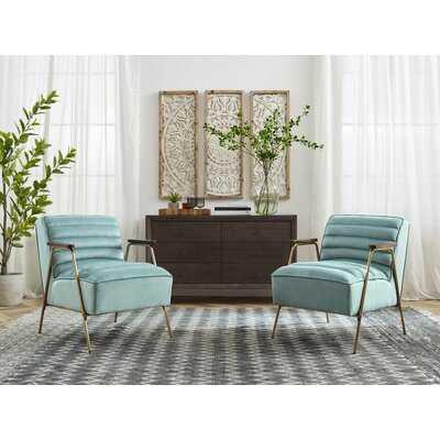 Modern Velvet Ribbed Seat With Gold Frame Armchair - Wayfair