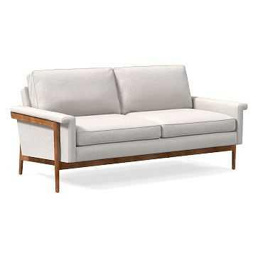"Leon Wood Frame 68"" Sofa, Performance Coastal Linen, Stone White, Pecan - West Elm"
