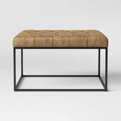 Trubeck Tufted Faux Leather Metal Base Cocktail Ottoman Brown - Project 62 - Target