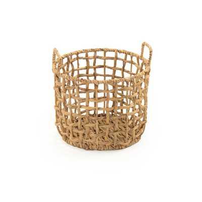 Zentique Round Handmade Sparsed Water Hyacinth Medium Basket with Handles, Brown - Home Depot