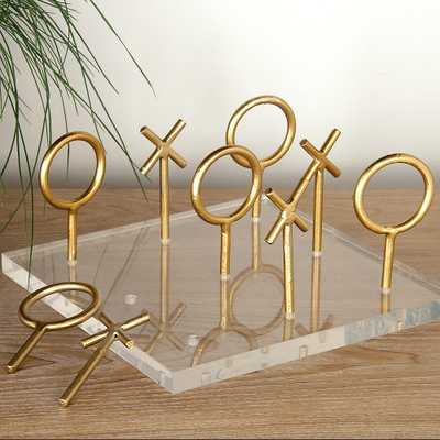 "Tic-Tac-Toe Game Set 8""W Polished Gold Table Decor Sculpture - Style # 97G36 - Lamps Plus"