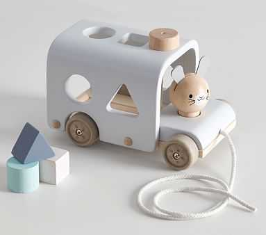 Plan Toys x pbk Bunny Sorting Bus - Pottery Barn Kids