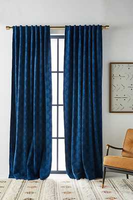 Jacquard Chenille Curtain By Anthropologie in Blue Size 50X84 - Anthropologie