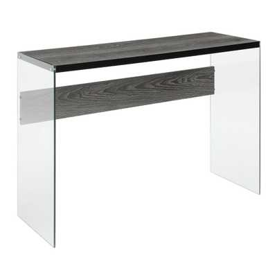 Convenience Concepts SoHo Weathered Gray and Glass Console Table, Weathered Gray/Glass - Home Depot