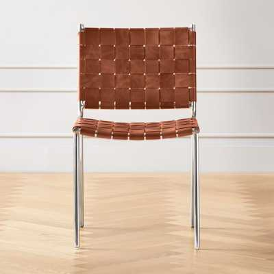 Woven Brown Leather Chair - CB2