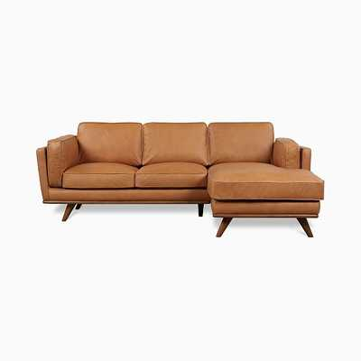 Zander Sectional Set 01: Left arm Sofa, Right arm Chaise,Tan,Charme Leather,Almond - West Elm