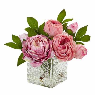 Peony Floral Arrangement in Decorative Vase - Birch Lane