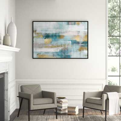 JBass Grand Gallery Collection 'Abstract Blue Gold' Framed Painting on Canvas - Perigold