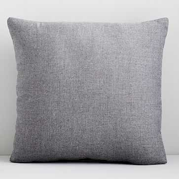 "Sunbrella Indoor/Outdoor Canvas Pillow, 20""x20"", Slate - West Elm"