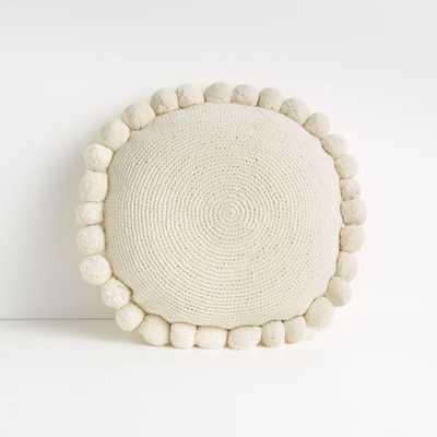"Pico 18"" White Round Pom Pom Pillow - Crate and Barrel"