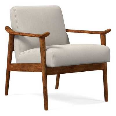 Midcentury Show Wood Chair, Poly, Yarn Dyed Linen Weave, Stone White, Pecan - West Elm
